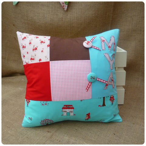 Red Riding Hood Patchwork Cushion (Can be Personalised)
