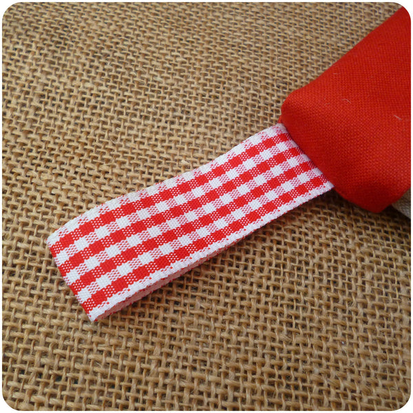Personalised Christmas Stars Stocking, red gingham loop close up