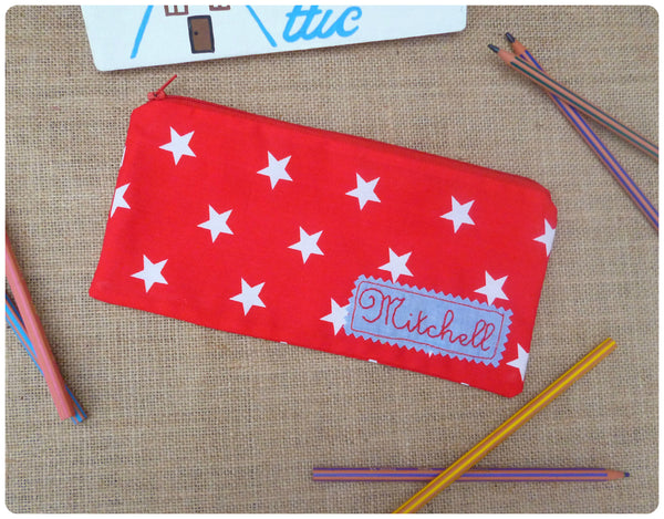 Red and White Stars Pencil Case (Can be Personalised)