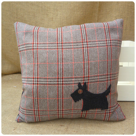 Red Tartan Scottie Dog Cushion, Scottie Dog Gift