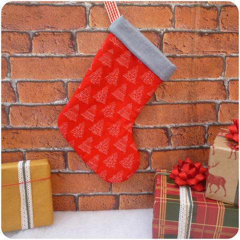 Red Scandinavian Christmas Tree Stocking (Can be Personalised)