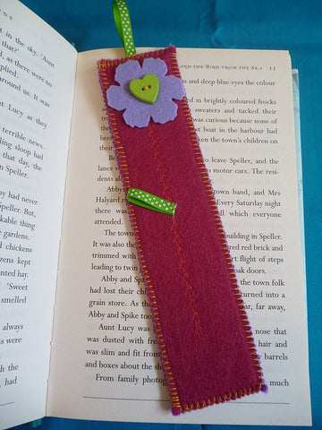 Floral Felt Bookmark (Choice of Colours Available)