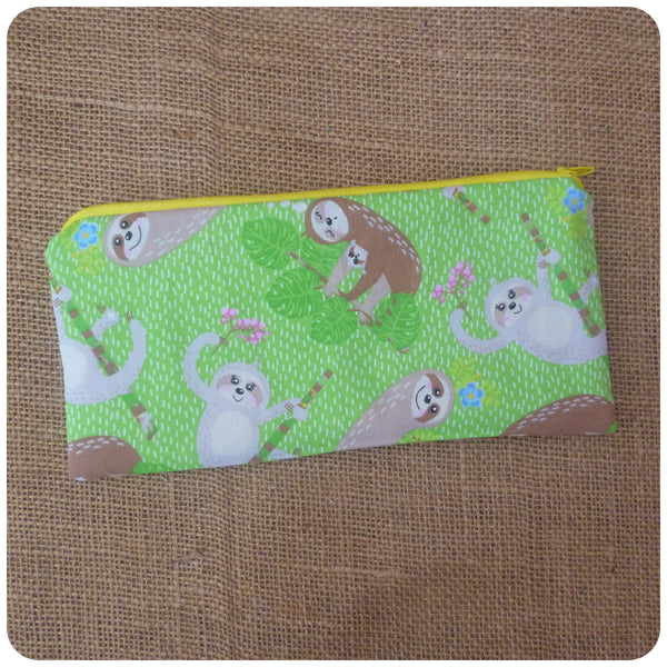 Green Sloth Pencil Case (Can be Personalised)