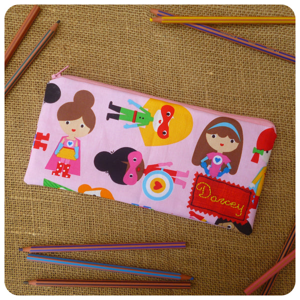 Super Girl Pencil Case (Can be Personalised)