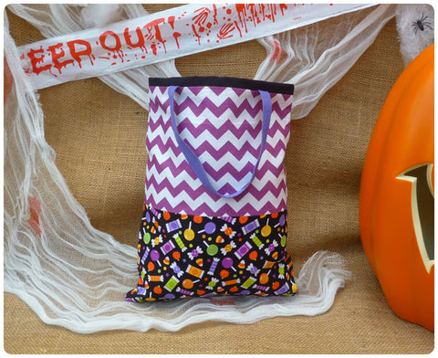 Sweets Halloween Bag Front View, Sweet fabric with purple chevrons and purple handles