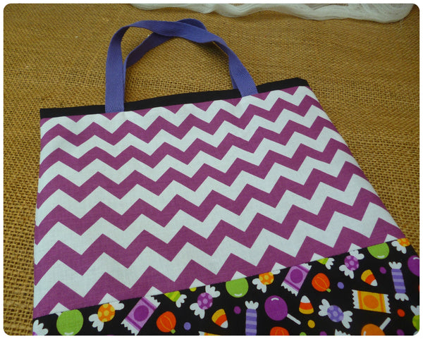 Sweets Halloween Bag Close up of purple chevron fabric