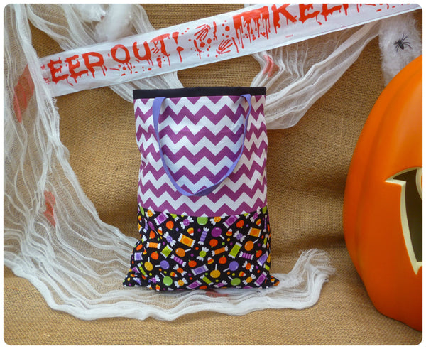 Sweets Halloween Bag Back View, Sweet fabric with purple chevrons and purple handles