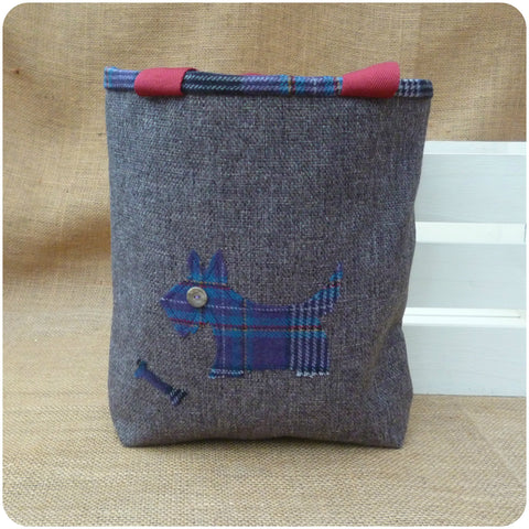 Scottie Dog Bag, Tartan Tote Bag, Dog Hand Bag, Front View