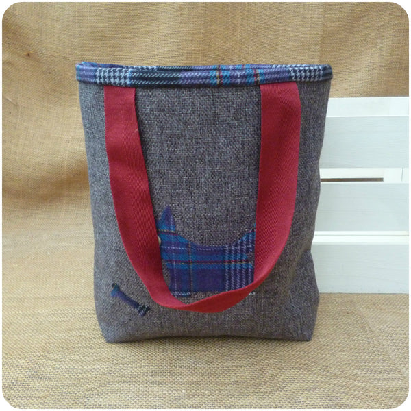 Scottie Dog Bag, Tartan Tote Bag, Dog Hand Bag, Front View with handles