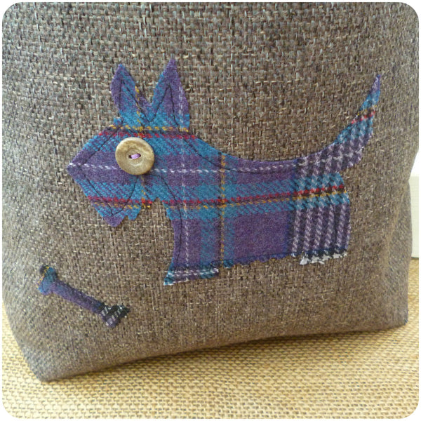 Scottie Dog Bag, Tartan Tote Bag, Dog Hand Bag, Scottie Dog Close Up