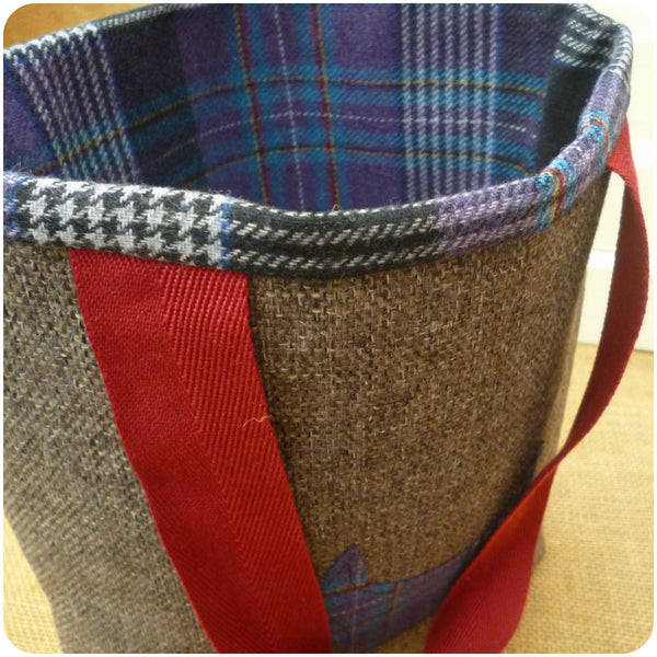 Scottie Dog Bag, Tartan Tote Bag, Dog Hand Bag, Top Close Up