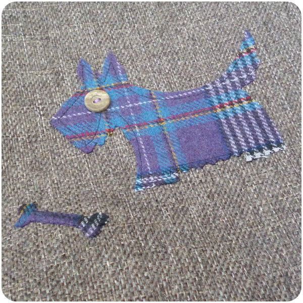 Scottie Dog Bag, Tartan Tote Bag, Dog Hand Bag, Scottie Dog Applique Close Up