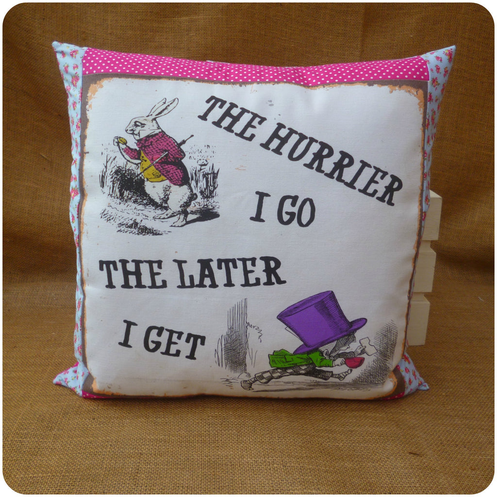 White Rabbit and Mad Hatter Cushion Front View