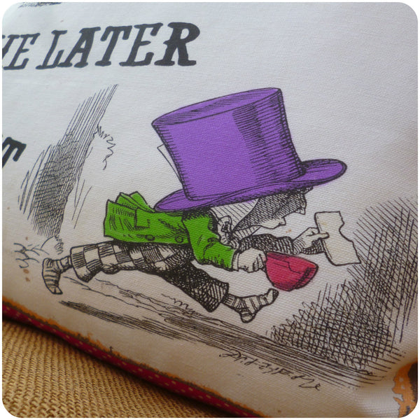 White Rabbit and Mad Hatter Cushion, Mad Hatter Illustration Close Up
