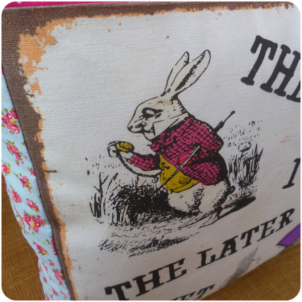 White Rabbit and Mad Hatter Cushion, White Rabbit Illustration Close Up