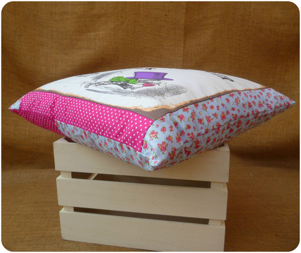 White Rabbit and Mad Hatter Cushion, Blue Floral and Pink Polka Dot Border Fabrics