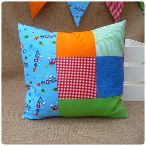 Train Patchwork Cushion (Can be Personalised)