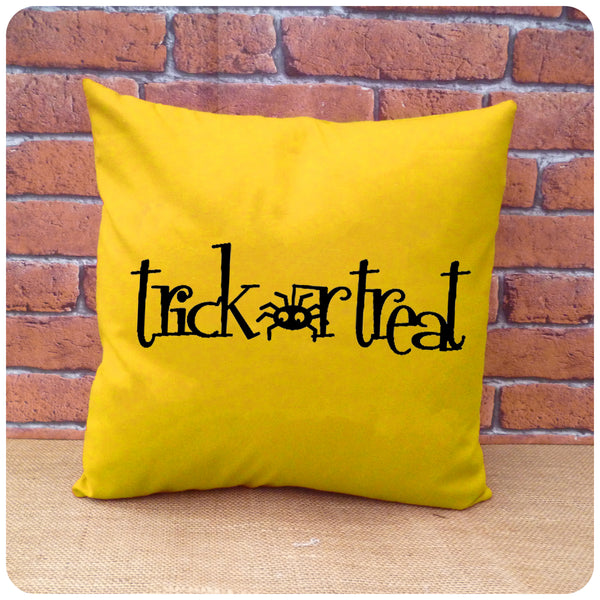 Trick or Treat Spider Cushion, Halloween Pillow, Choice of Colours Available