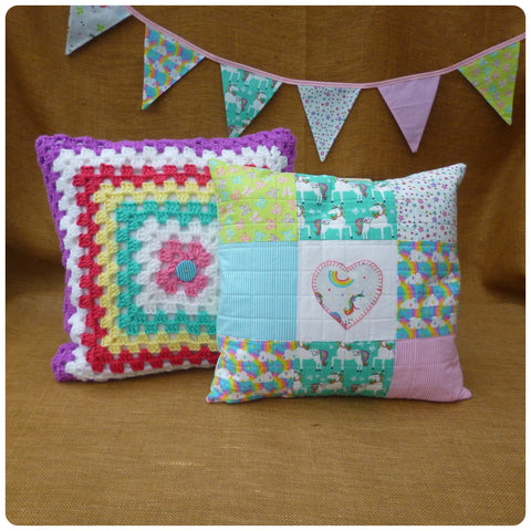 Unicorn Cushion, Crochet Cushion and Unicorn Bunting Set (Can be purchased separately)