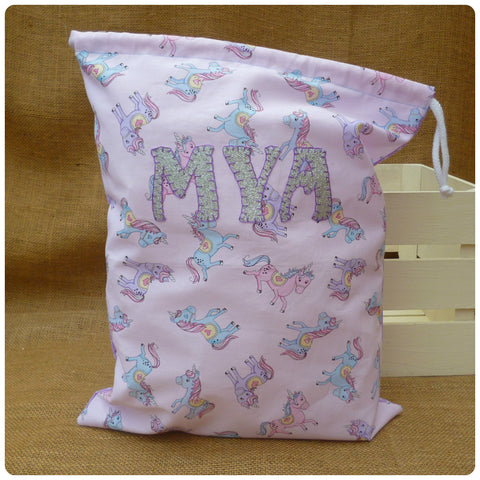 Unicorns Drawstring Bag, Personalised Unicorn Bag