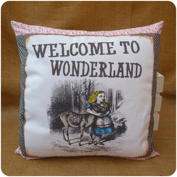 Welcome to Wonderland, Alice in Wonderland Pillow Front View