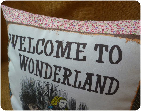 Welcome to Wonderland, Alice in Wonderland Pillow, Lettering close up
