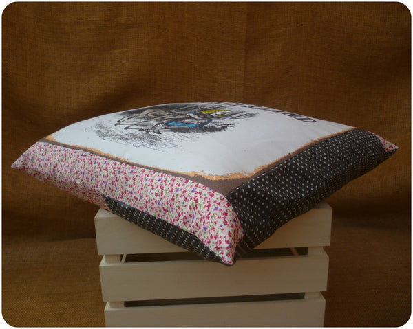 Welcome to Wonderland, Alice in Wonderland Pillow Border Fabric View