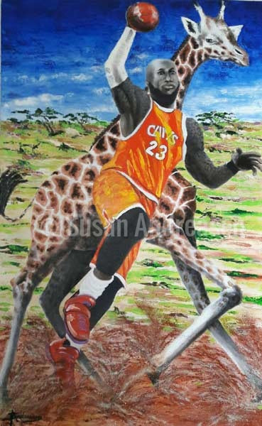 Lebron James and Giraffe - 48 x 65