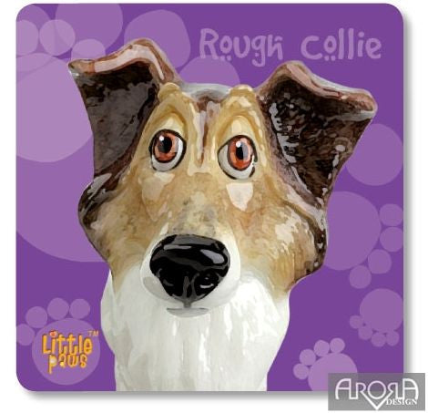 Little Paws Rough Collie fun Dog Breed Coaster by Arora Design