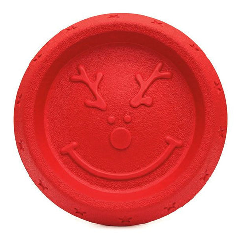 Cupid and Comet reindeer throw frisbee