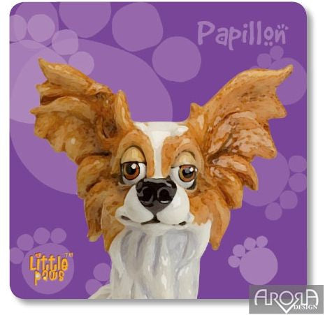 Little Paws Papillon fun Dog Breed Coaster by Arora Design