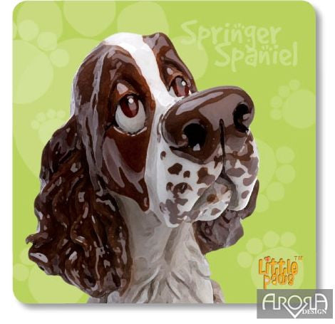 Little Paws Springer Black & White Spaniel - Coaster by Arora Design