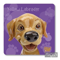 Little Paws Yellow Labrador fun Dog Breed Coaster by Arora Design