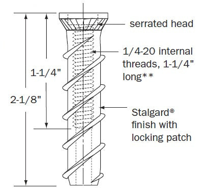 Fasteners - Long female Panel Mate Concrete Anchor