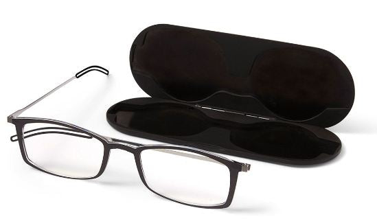 Thin Optics Brooklyn Reading Glasses in Black, Red or Clear - ReadingGlassWorld