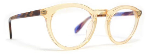 Scojo Gels Blulite Layton Avenue in Clear Amber front with purple/brown temples - ReadingGlassWorld