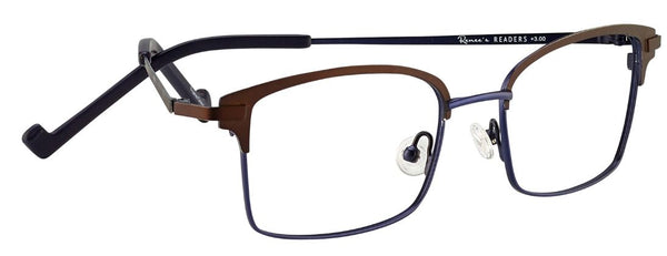 Renee's Readers Lightweight Leslie in Charcoal/Taupe or Brown/Navy - ReadingGlassWorld