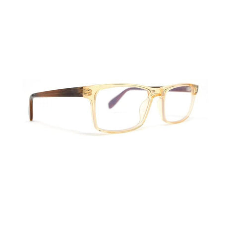 Scojo Gels Blulite Warren Street in Clear Amber front with tan horn temples