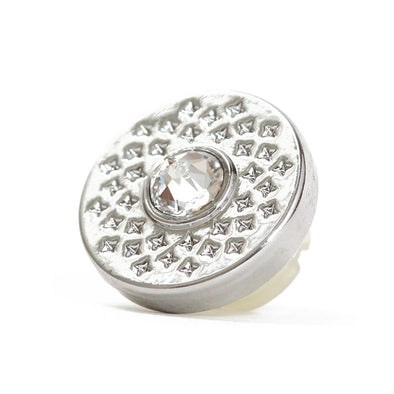 "Bouton 13 mm en métal avec grand strass central ""WHITE STAR"""