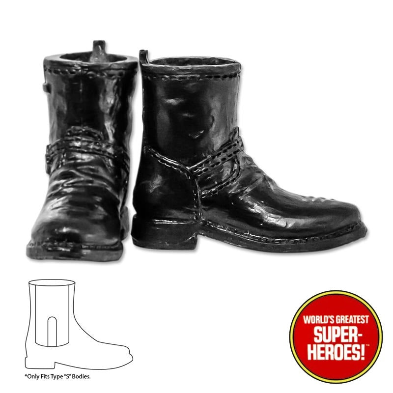 "Type S Male Black Biker Boots For 8"" Action Figure"
