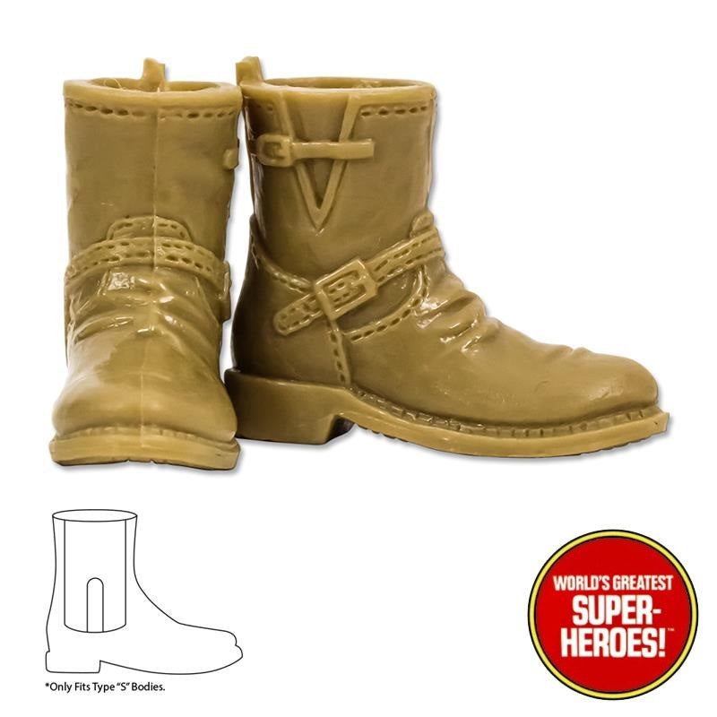 "Type S Male Tan Biker Boots For 8"" Action Figure"