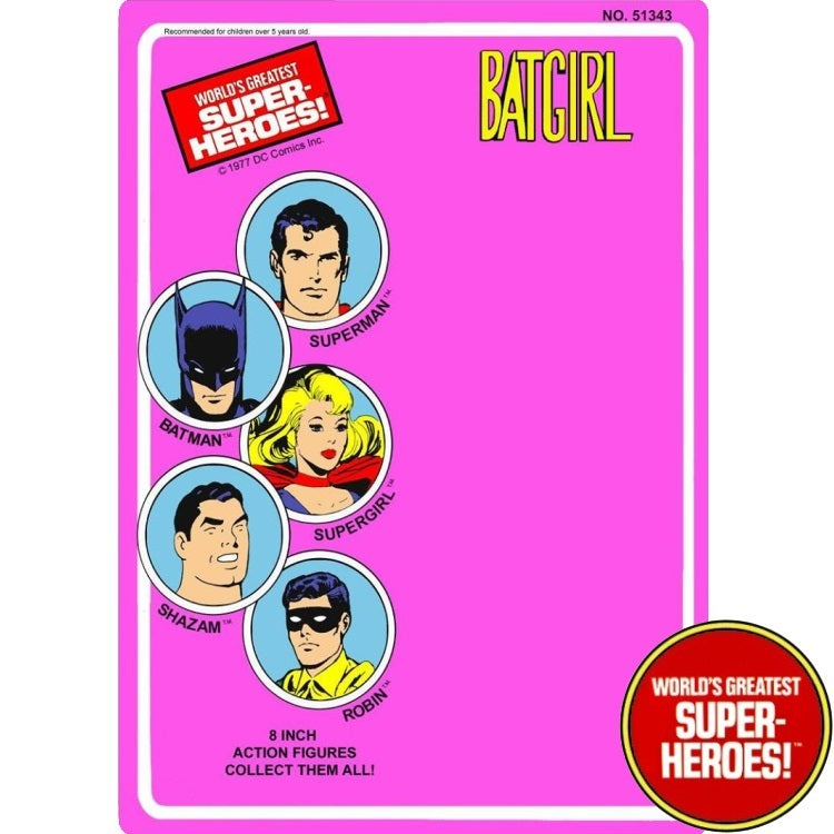"Batgirl 1977 WGSH Repro Mego Blister Card For 8"" Action Figure - Worlds Greatest Superheroes"