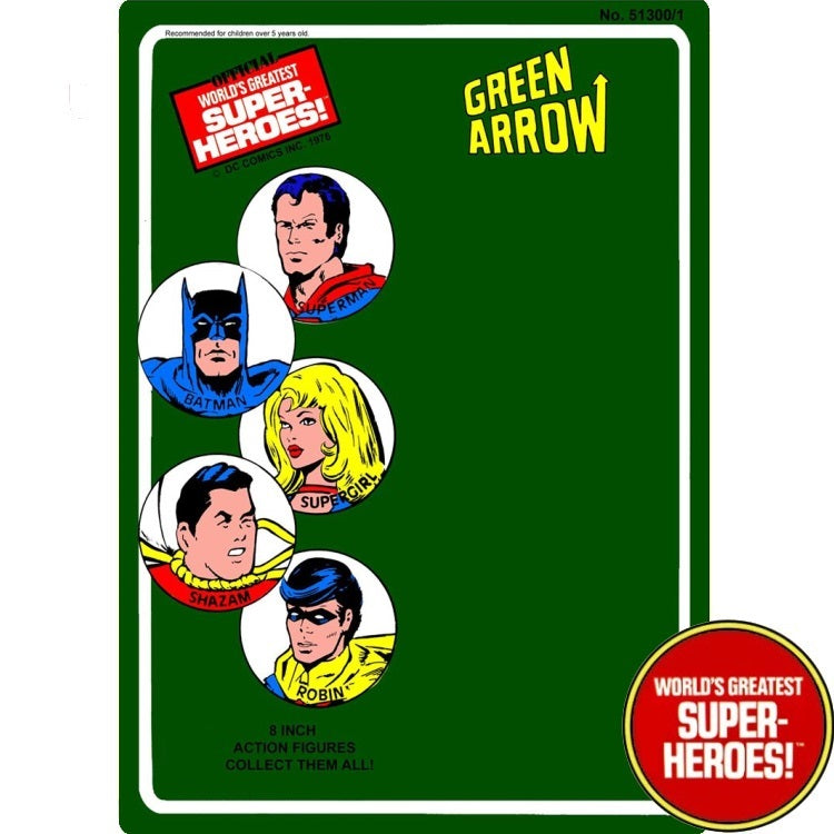 "Green Arrow 1976 Official WGSH Repro Mego Blister Card For 8"" Action Figure - Worlds Greatest Superheroes"