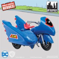DC Comics Mego Retro Batman Batcycle Playset (Blue) - Worlds Greatest Superheroes