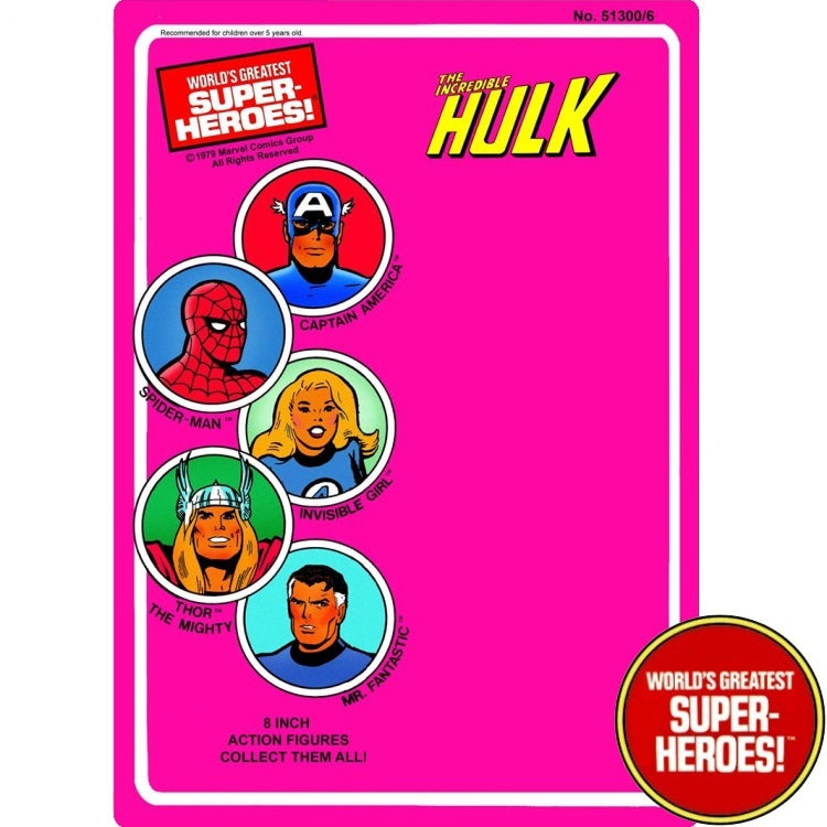 "Hulk 1979 WGSH Repro Mego Blister Card For 8"" Action Figure - Worlds Greatest Superheroes"