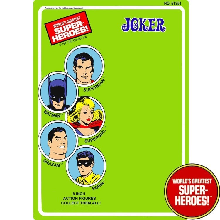 "Joker 1977 WGSH Repro Mego Blister Card For 8"" Action Figure - Worlds Greatest Superheroes"