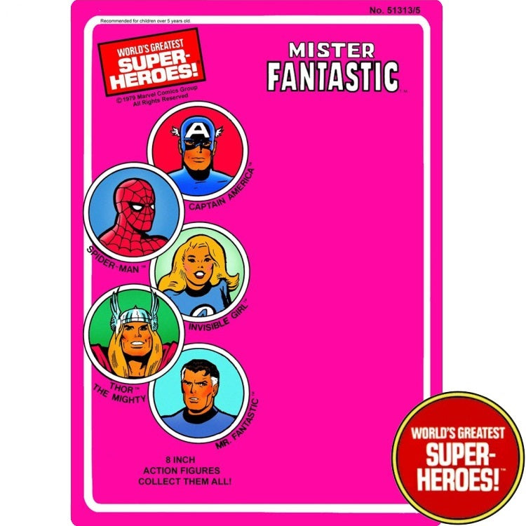 "Mr. Fantastic 1979 WGSH Repro Mego Blister Card For 8"" Action Figure - Worlds Greatest Superheroes"