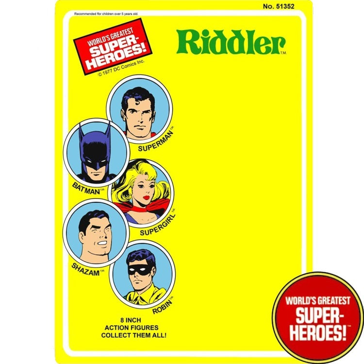 "Riddler 1977 WGSH Repro Mego Blister Card For 8"" Action Figure - Worlds Greatest Superheroes"