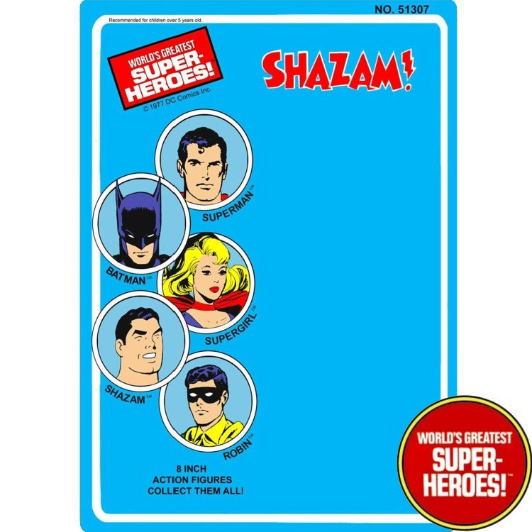 "Shazam 1977 WGSH Repro Mego Blister Card For 8"" Action Figure - Worlds Greatest Superheroes"