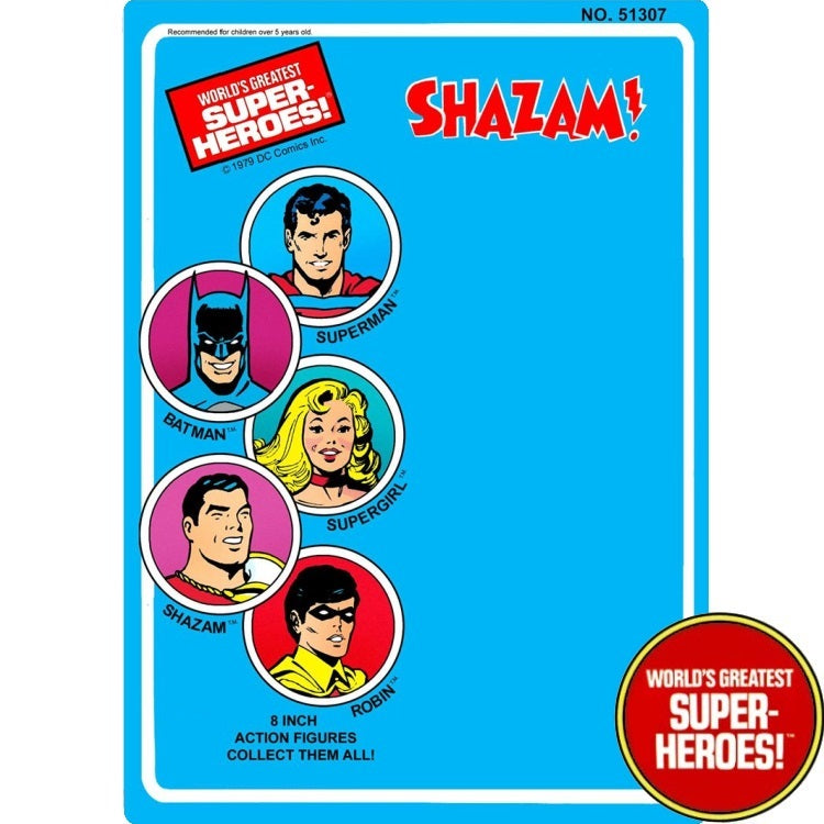 "Shazam 1979 WGSH Repro Mego Blister Card For 8"" Action Figure - Worlds Greatest Superheroes"